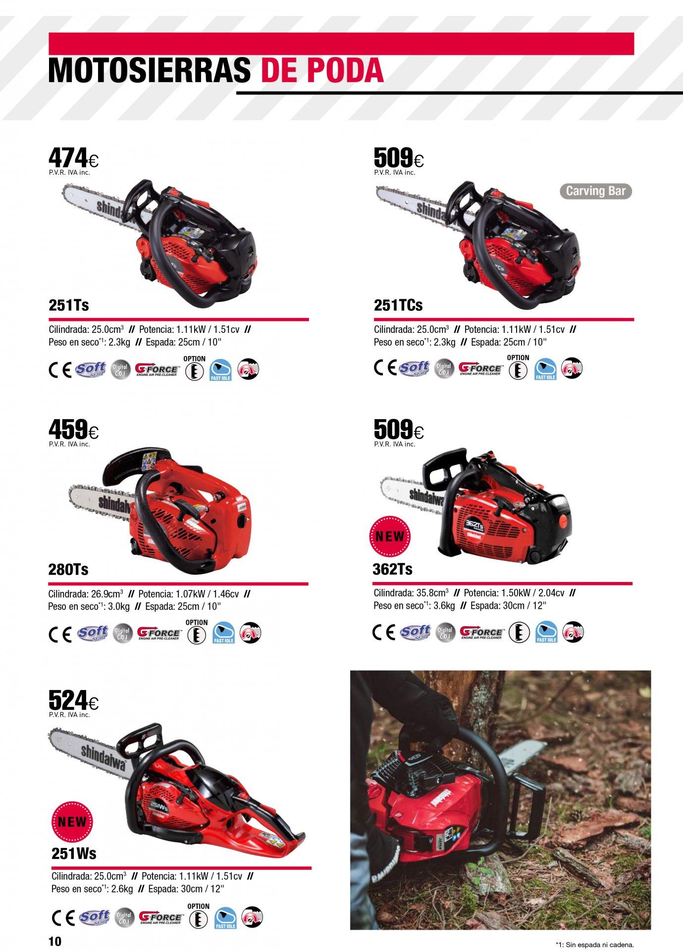 Catalogo motosierras de poda shindaiwa echo
