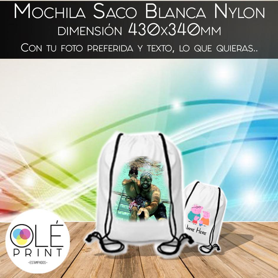 Mochila Saco Blanca Nylon