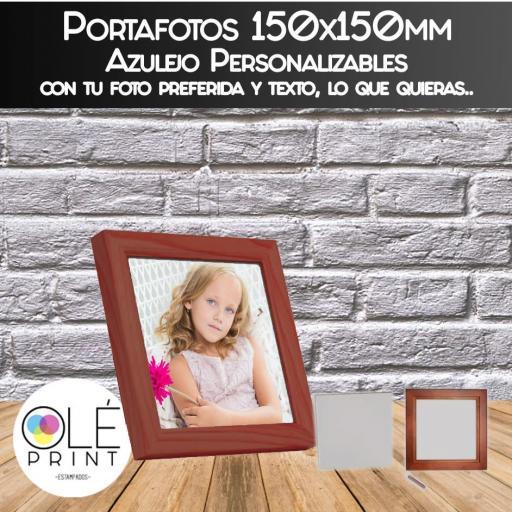 Portafoto Portaretrato Ceramica 15x15 con borde de madera