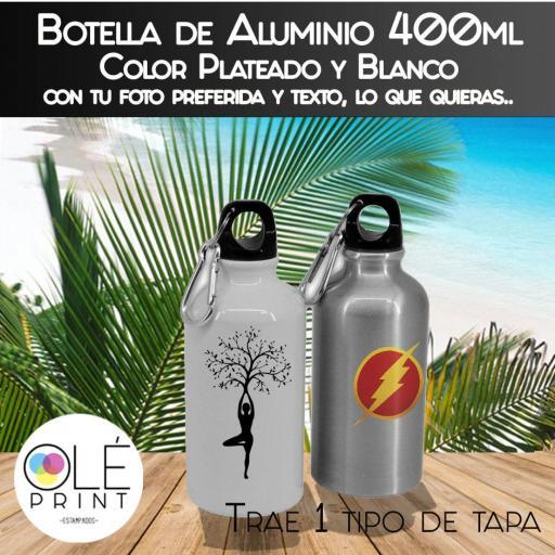 Botella Aluminio Plateado y Blanco, Bidones con tapón de rosca, 400ml