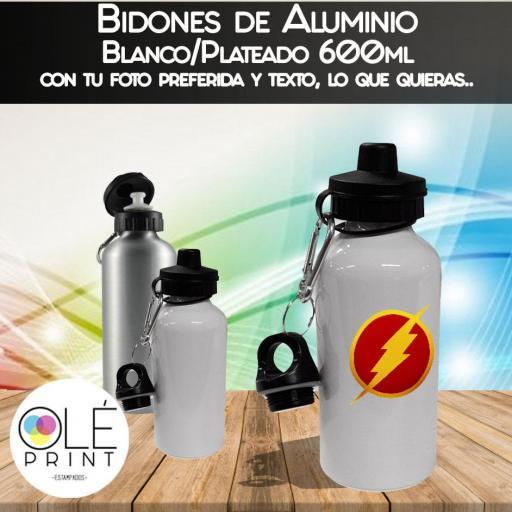 Botella Aluminio Plateado y Blanco, Bidones 600ml