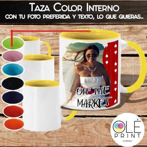 Tazas 11oz Cerámica Color Interno y Asa, personalizada