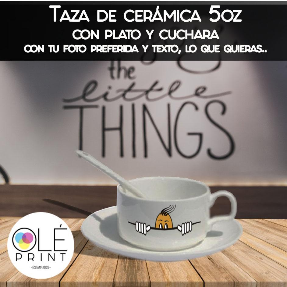 Taza de cafe con plato y cucharita, Cerámica 5oz
