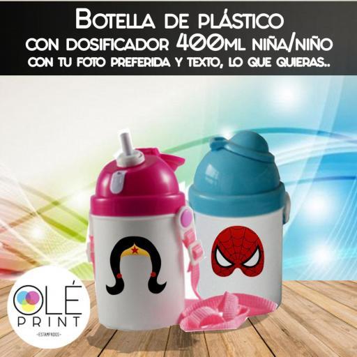 Botella Plástico con dosificador niña niño