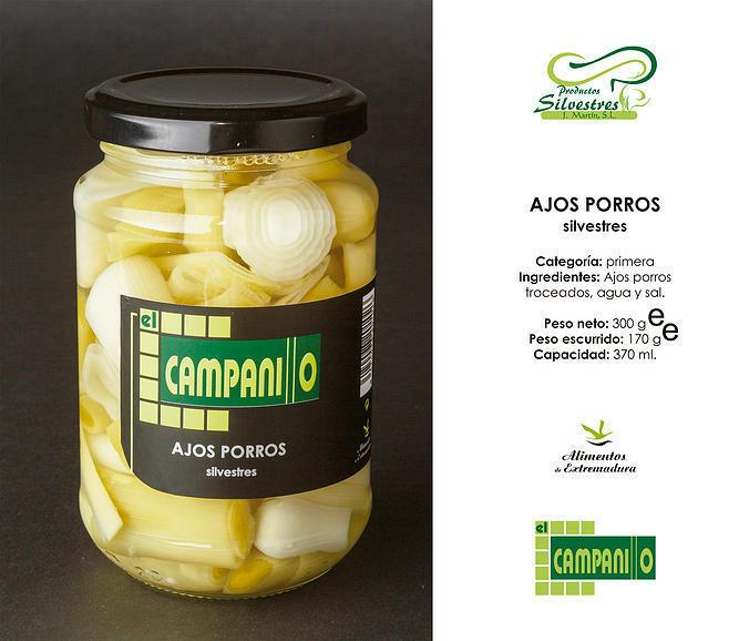 Ajos Porros Silvestres al Natural Tarro 370 ml