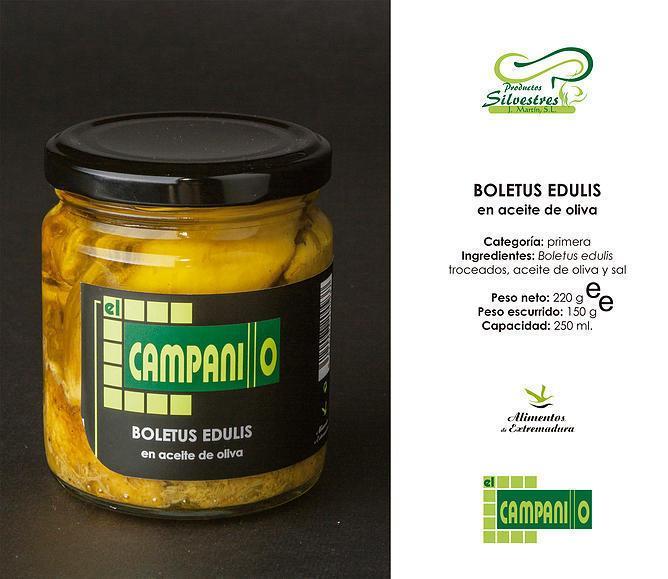 Boletus en Aceite Oliva tarro 250 ml.