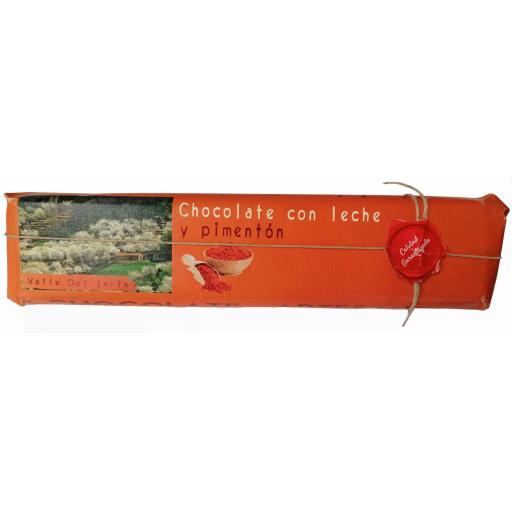 Chocolate con leche y pimentón artesano Valle del Jerte