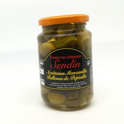 Aceitunas Manzanilla rellenas de pepinillo 370 ml.