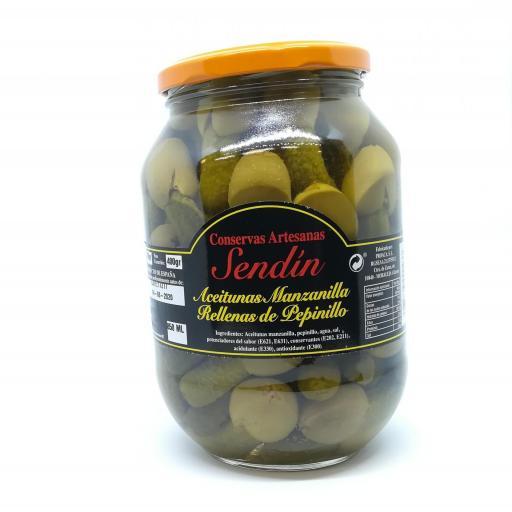 Aceitunas Manzanilla rellenas de pepinillo 850 ml.