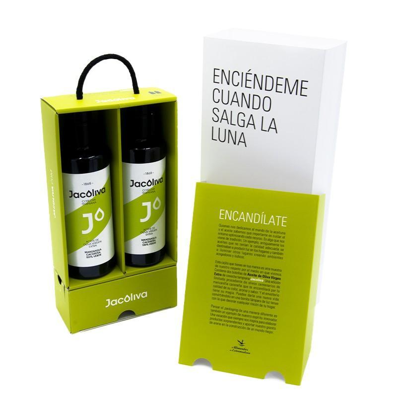 Regalo aceite Jacoliva Manzanilla cacereña verde convertible en lámpara Encandílate