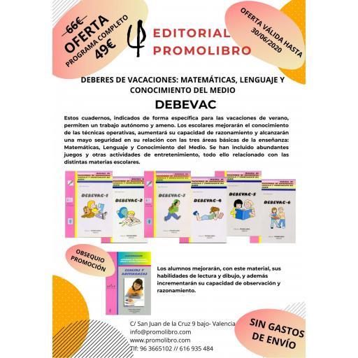 OFERTA. DEBEVAC. DEBERES DE VACACIONES: MATEMÁTICAS, LENGUAJE Y CONOCIMIENTO DEL MEDIO