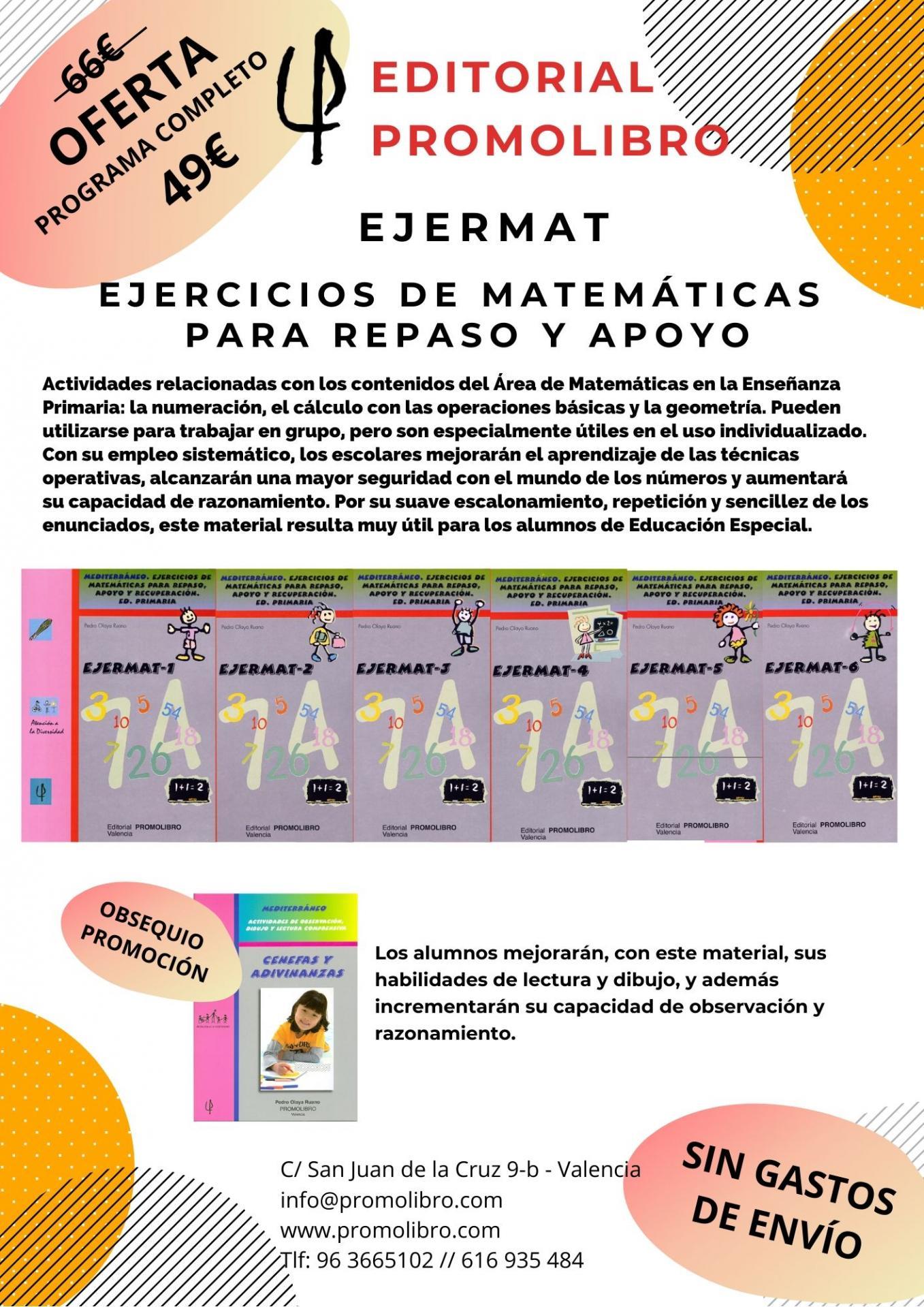 OFERTA. EJERCICIOS DE MATEMÁTICAS PARA REPASO Y APOYO. EJERMAT. PROGRAMA COMPLETO