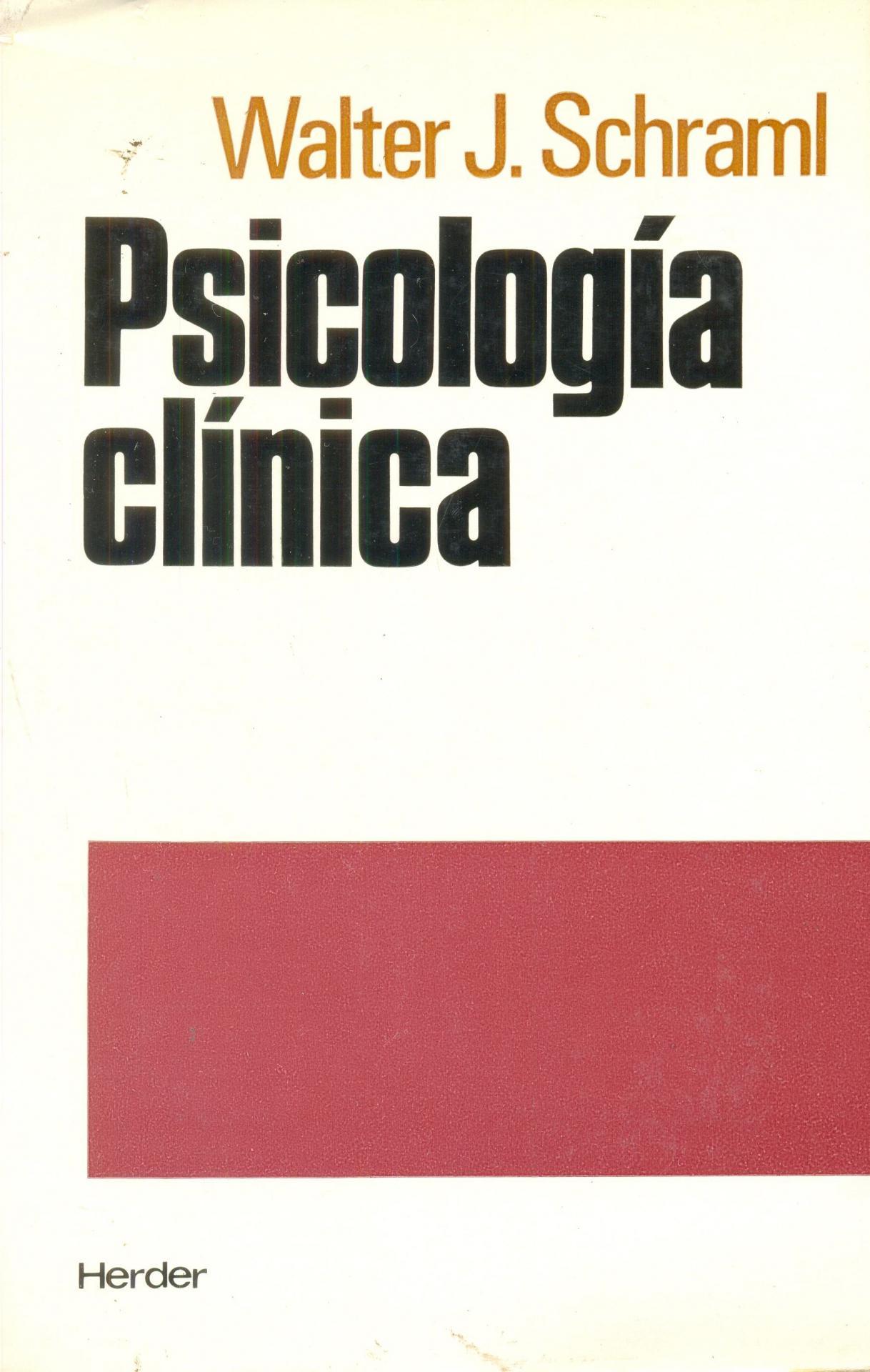 PSICOLOGÍA CLÍNICA. Schraml, W.J.