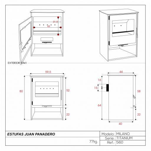 Estufa mod. Milano Titanium [3]