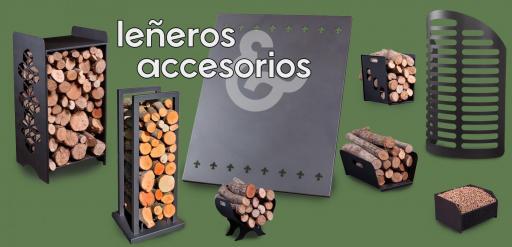 · Leñeros / Placa protección pared / Cesta quemador pellets