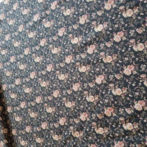 Tela algodón flores negra [1]