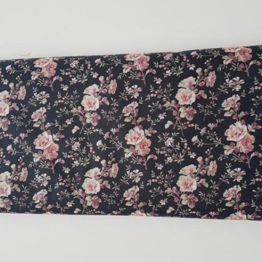 Tela algodón flores negra