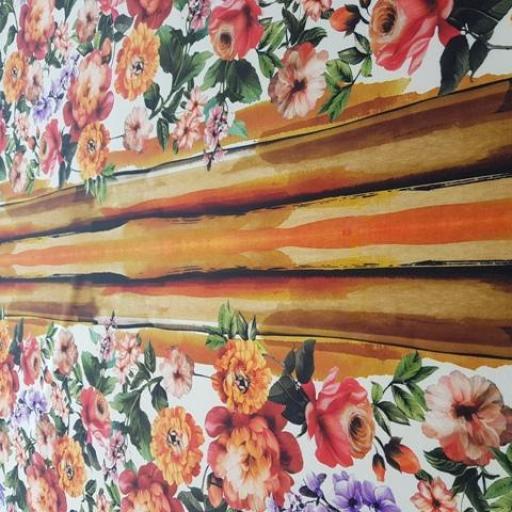 Neopreno estampado flores blanco / naranja [0]