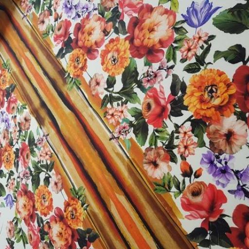 Neopreno estampado flores blanco / naranja [1]