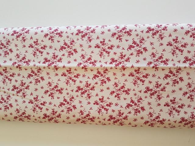 Tela algodón estampado marfil flor roja