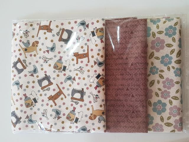 Pack 3 telas combinadas. COLECCIÓN One stitch at time