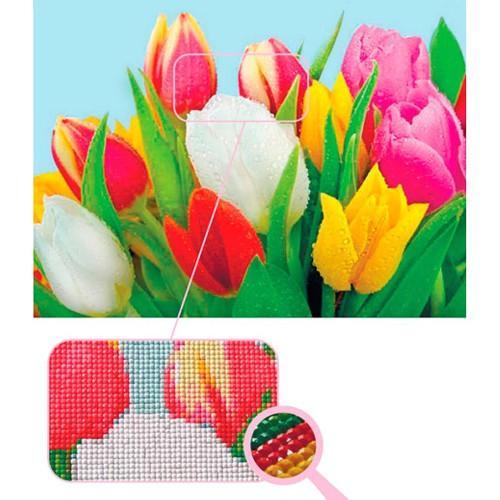 Kit punto de cruz de diamante tulipanes