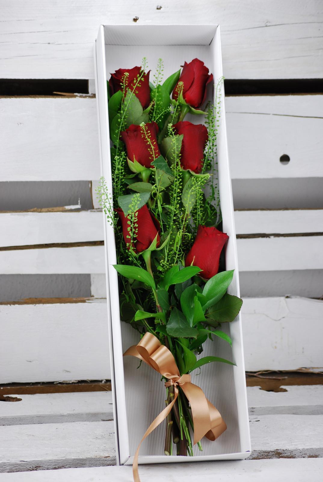Ramo 6 rosas en caja de cartón ecosostenible