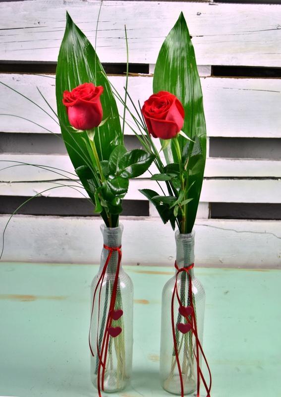 Cristal reciclado con rosa roja