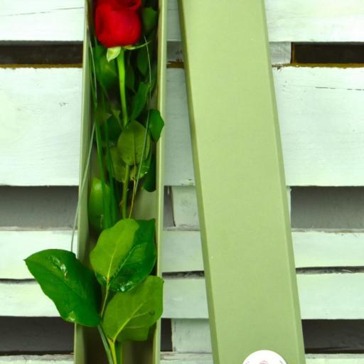 Caja de cartón reciclado, con una rosa