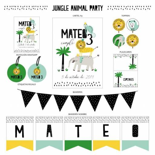 KIT IMPRIMIBLE JUNGLE ANIMAL PARTY