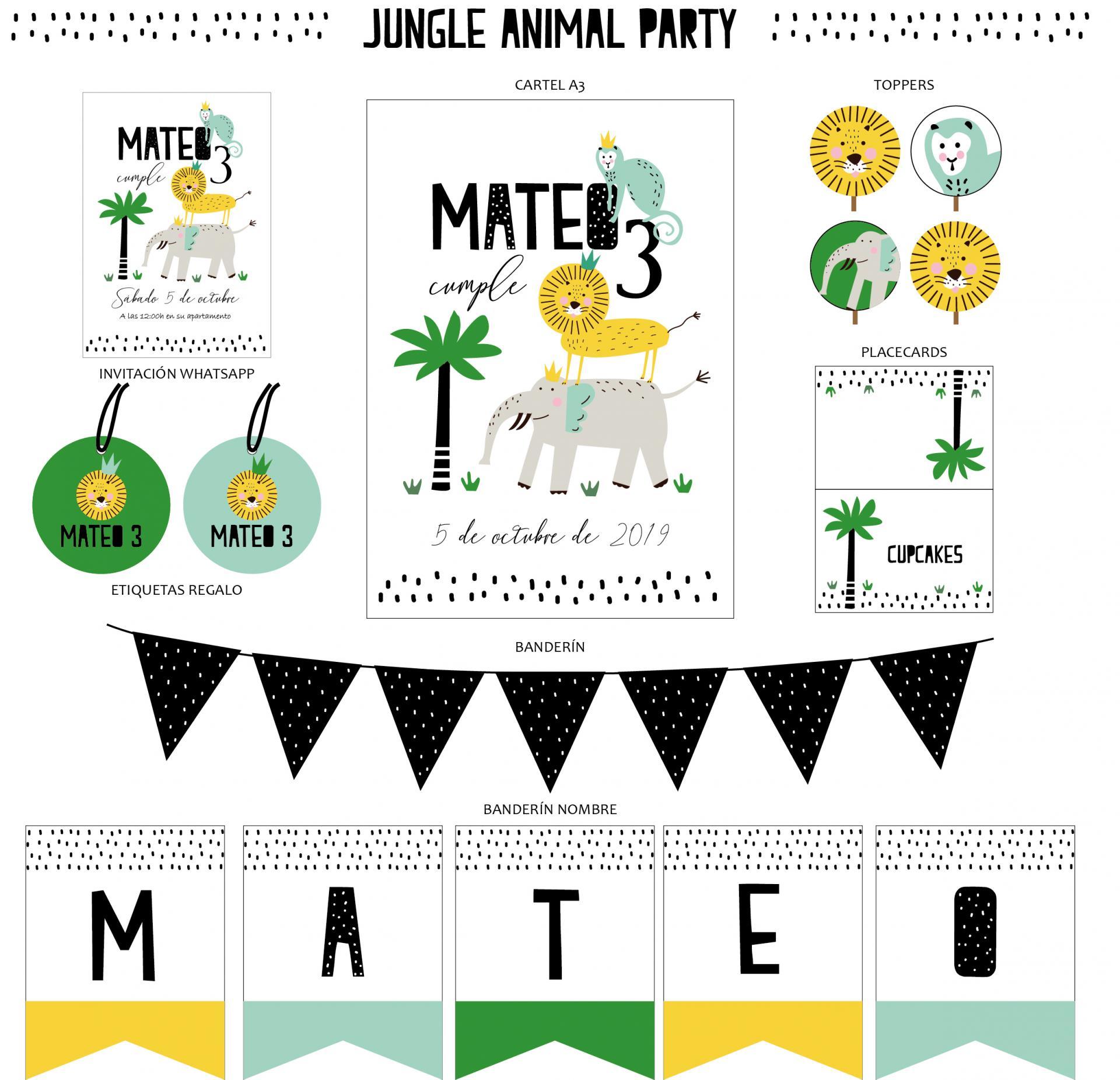 KIT JUNGLE ANIMAL PARTY IMPRESO