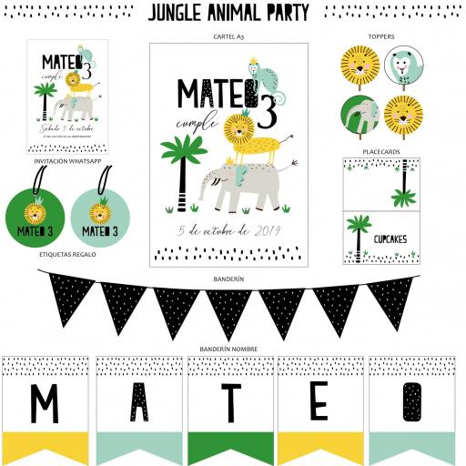 KIT JUNGLE ANIMAL PARTY IMPRESO