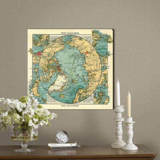 Cuadro en lienzo  mapa vintage antiguo círculo polar ártico [1]