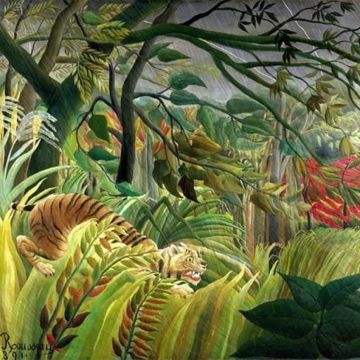 Cuadro lienzo Rousseau tigre en tormenta tropical