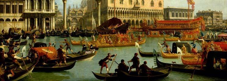Cuadro en lienzo clásico alargado para cabecero Canaletto