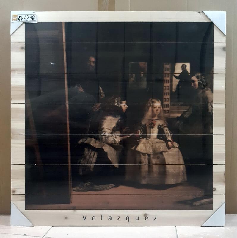 Cuadro de madera Meninas Velazquez cuadrado
