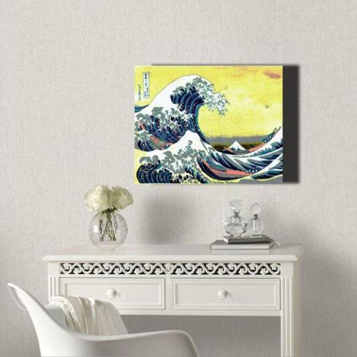 Cuadro en lienzo Ola de Kanagawa Hokusai fondo amarillo alta resolución [1]