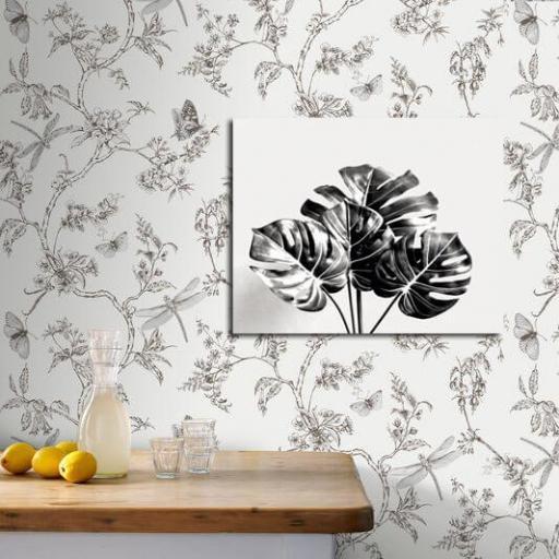 Cuadro en lienzo alta resolución botánica Monstera Blanco y Negro [1]