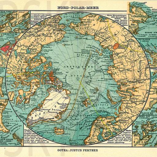Cuadro en lienzo  mapa vintage antiguo círculo polar ártico
