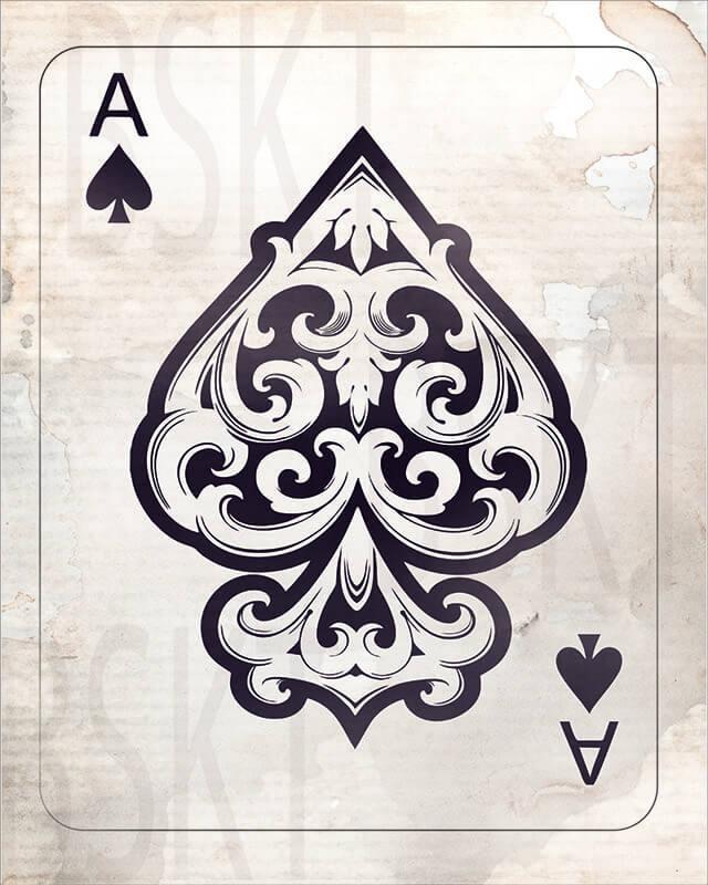 Cuadro en lienzo Carta as de espadas ace of spades naipes alta resolución