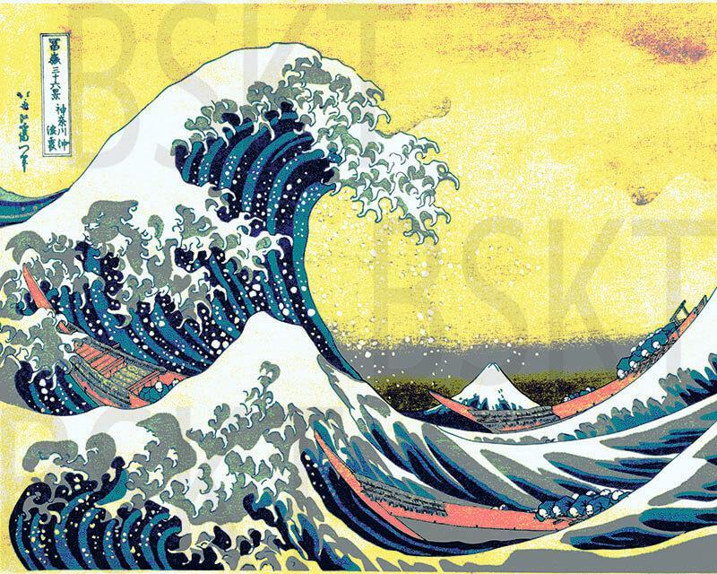 Cuadro en lienzo Ola de Kanagawa Hokusai fondo amarillo alta resolución