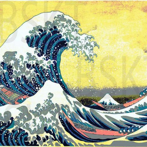 Cuadro en lienzo Ola de Kanagawa Hokusai fondo amarillo alta resolución [0]