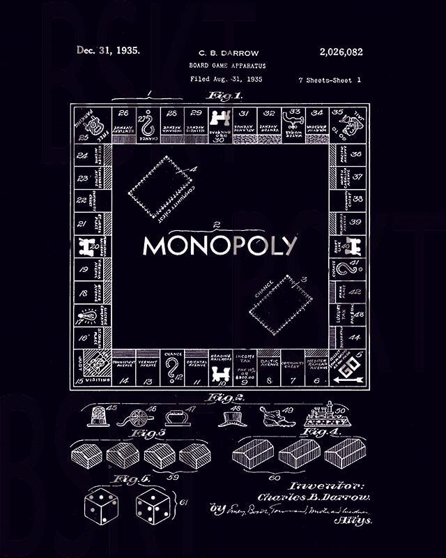 Cuadro en lienzo patente de monopoly juego