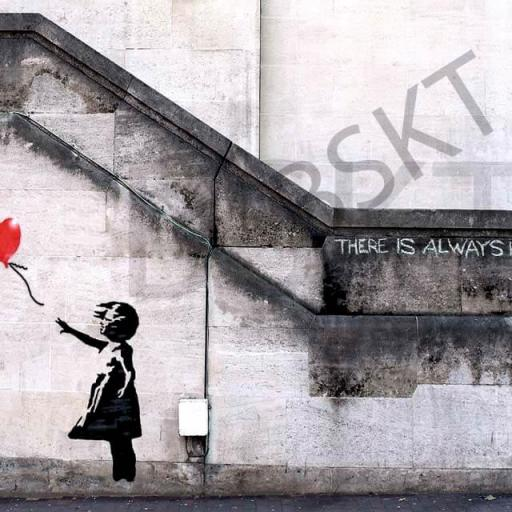 Cuadro en lienzo banksy there is always hope graffiti, niña con globo, girl with balloon