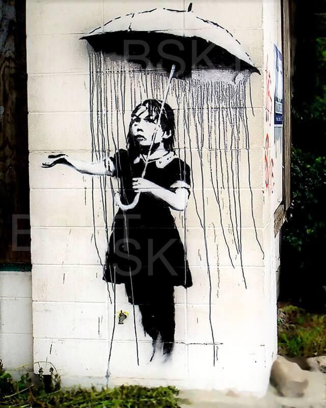 Cuadro en lienzo Banksy niña paraguas umbrella girl