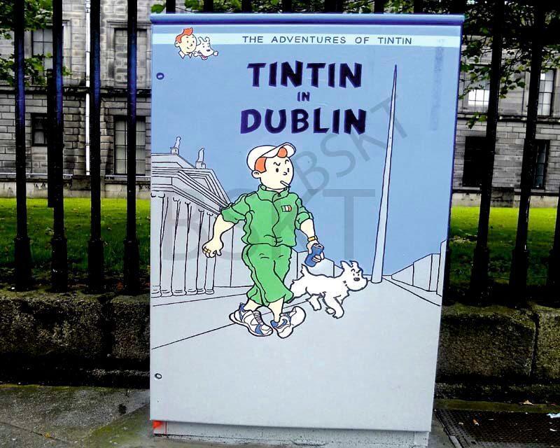 Cuadro en lienzo Graffiti Tintin Dublin