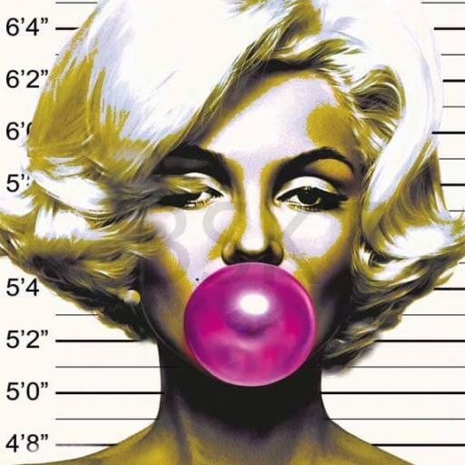 Cuadro en lienzo Marilyn Monroe chicle cárcel detenida mugshot prontuario foto policial ficha policía