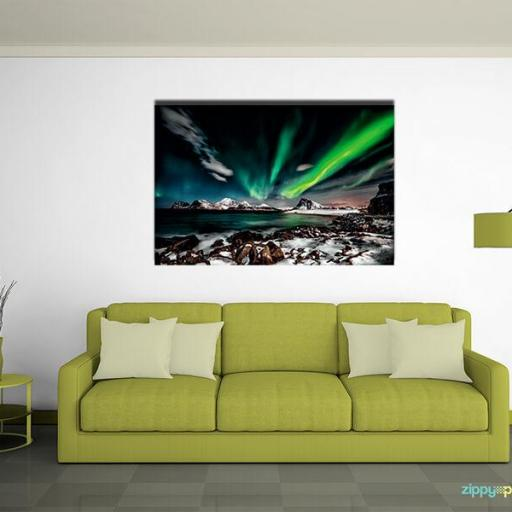 Cuadro en lienzo aurora boreal paisaje decoración [1]