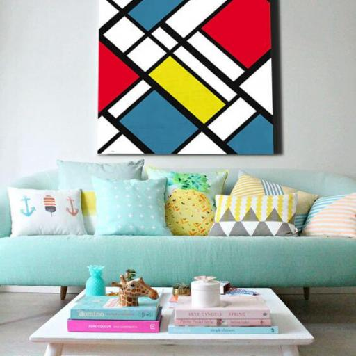 Cuadro en Lienzo estilo Piet Mondrian pintura moderna vanguardista alta resolución [1]