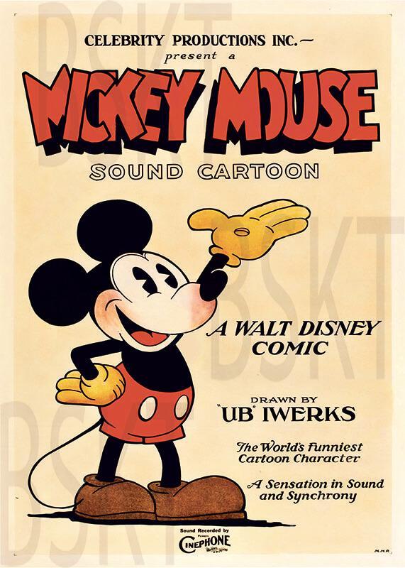 Cuadro en lienzo montado sobre bastidor Mickey Mouse póster